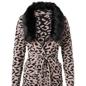 Venus leopard print cardigan sweater with faux fur
